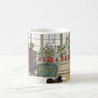 Flores en el Windowsill de Carl Larsson Taza