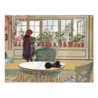"""""""Flores en el Windowsill"""" por el arte de Carl Lars Postales"""