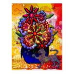 Flores en florero del azul de cobalto en lluvia y  tarjeta postal