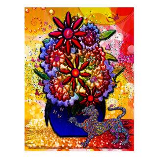 Flores en florero del azul de cobalto en lluvia y tarjetas postales