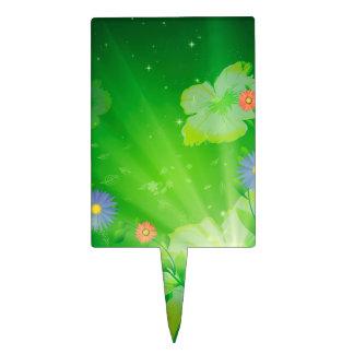 Flores en fondo verde decoración de tarta