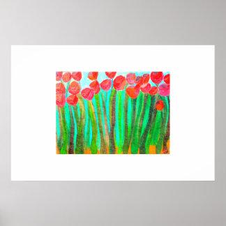 Flores en hierba alta poster