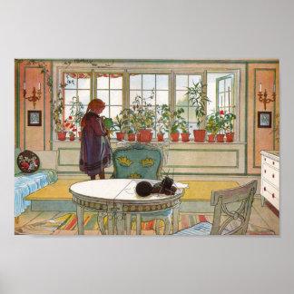 Flores en la caja de ventana - Blomsterforstet Póster