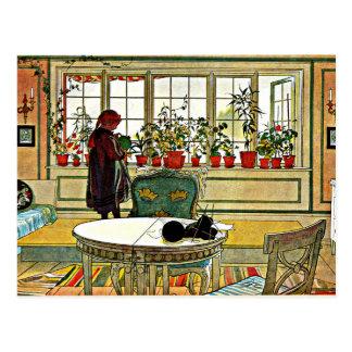 Flores en la pintura del Windowsill (2014 Postales