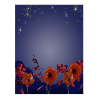 Flores en la postal de la noche