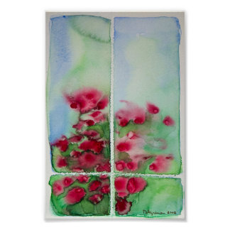 flores en la ventana posters