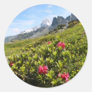¡Flores en las montañas - hermosas! Pegatina Redonda