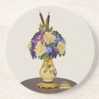 Flores en práctico de costa amarillo del florero posavasos manualidades