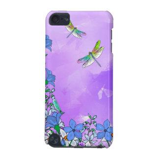 Flores en púrpura con las libélulas funda para iPod touch 5G