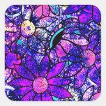 Flores en púrpuras pegatina cuadradas personalizada