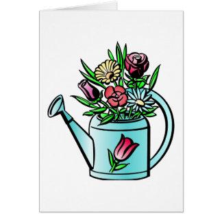 Flores en regadera tarjeton