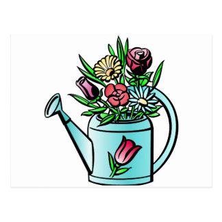 Flores en regadera tarjetas postales