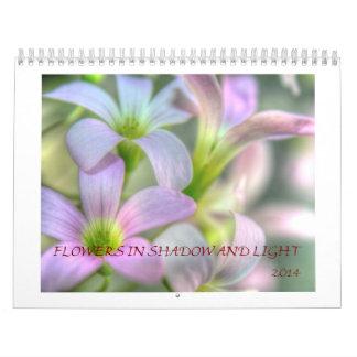Flores en sombras y luz calendario