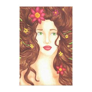 """Flores en su lona envuelta pelo (32"""" x 48"""") impresiones en lona"""