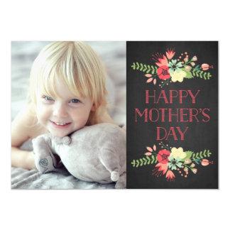 """Flores en tarjeta del día de madre de la pizarra invitación 5"""" x 7"""""""
