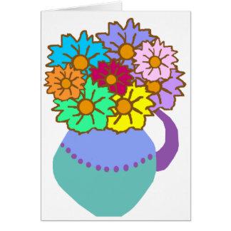Flores en tarjeta en blanco del florero