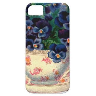 Flores en un arte del vintage de la taza de té iPhone 5 carcasa