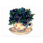 Flores en un arte del vintage de la taza de té tarjetas postales