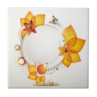 Flores en un círculo tejas  ceramicas