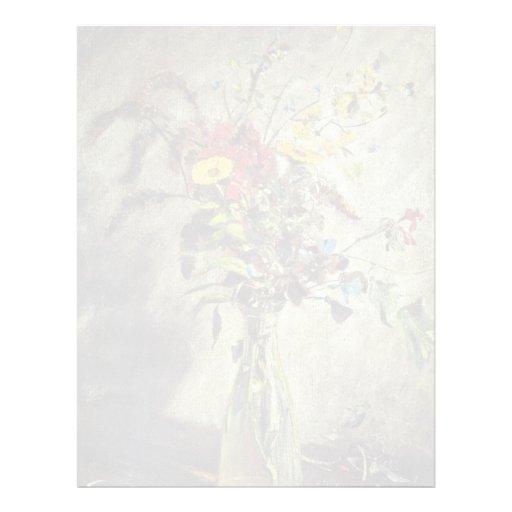Flores en un estudio de cristal del florero del po plantilla de membrete