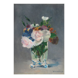 Flores en un florero cristalino, c.1882 (aceite en póster