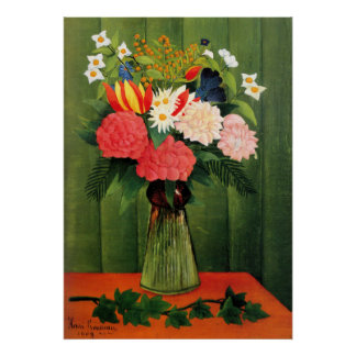Flores en un florero de Henry Rousseau Póster