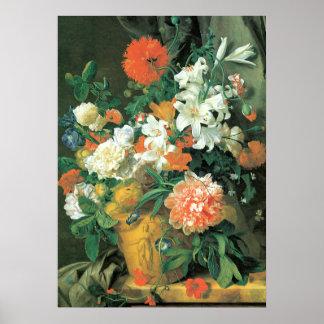 Flores en un florero de la terracota póster
