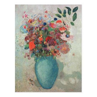 Flores en un florero de la turquesa c 1912 postales