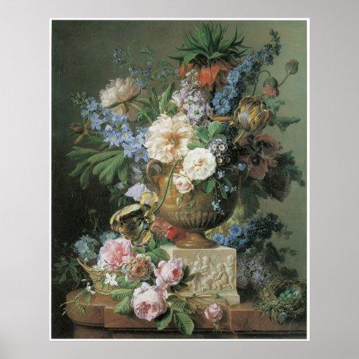 Flores en un florero del alabastro con la póster