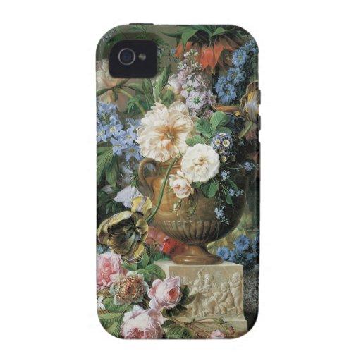 Flores en un florero del alabastro vibe iPhone 4 carcasas