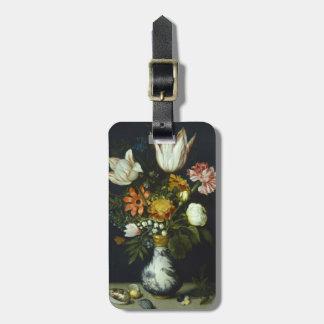 Flores en un florero etiquetas de maletas