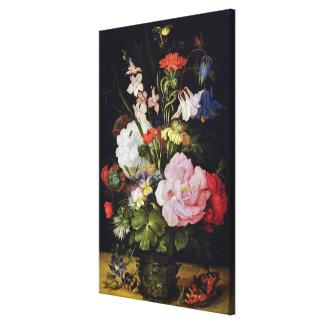 Flores en un florero impresión en lona estirada