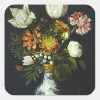 Flores en un florero pegatina cuadrada
