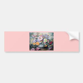 Flores en un florero pegatina para auto