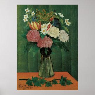 Flores en un florero por el vintage de Henri Rouss Poster