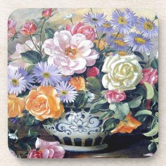 Flores en un florero posavaso