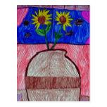 Flores en un florero postal