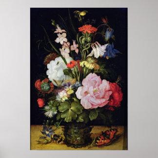 Flores en un florero póster