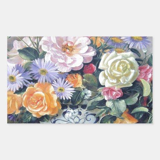 Flores en un florero rectangular pegatina