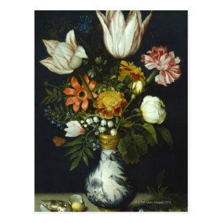 Flores en un florero tarjeta postal