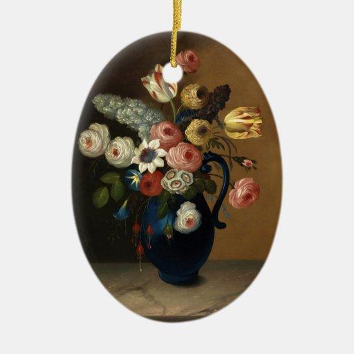 Flores en un jarro azul adornos