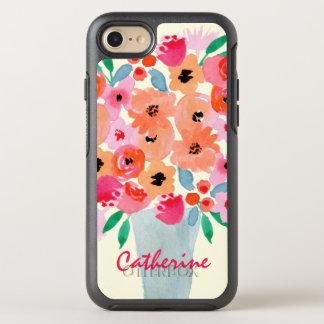 Flores en un monograma de la acuarela del florero funda OtterBox symmetry para iPhone 7