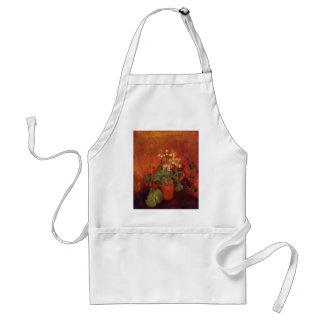 Flores en un pote en fondo rojo de Odilon Redon Delantal