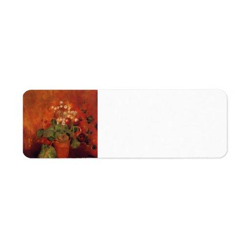 Flores en un pote en fondo rojo de Odilon Redon Etiqueta De Remitente