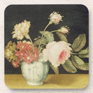 Flores en un tarro de Delft (aceite en el panel) Posavaso