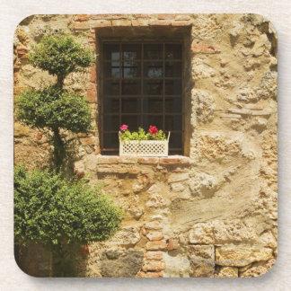 Flores en una caja de ventana en un travesaño de l posavasos