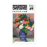 Flores en una pintura de Pedro Auguste Renoir del Sellos