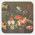 Flores en una repisa, 1665 calcomania cuadrada personalizada