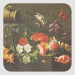 Flores en una repisa, 1665 pegatina cuadrada