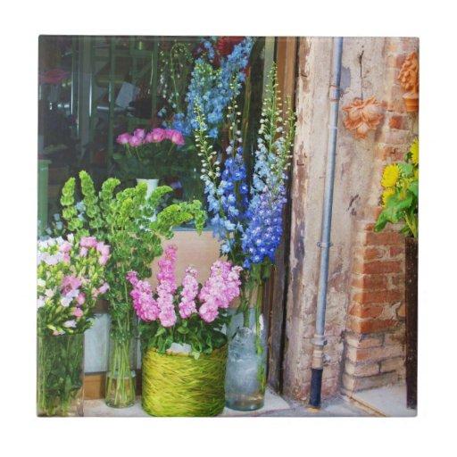 Flores en Venecia, Italia Azulejo Cuadrado Pequeño